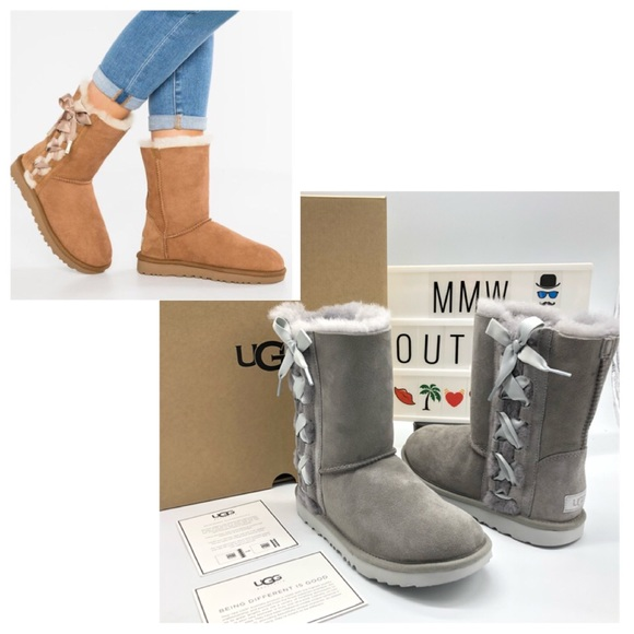 0e141fe0efb UGG Girl's Satin Lace Pala Boot in Grey Youth 5 NWT